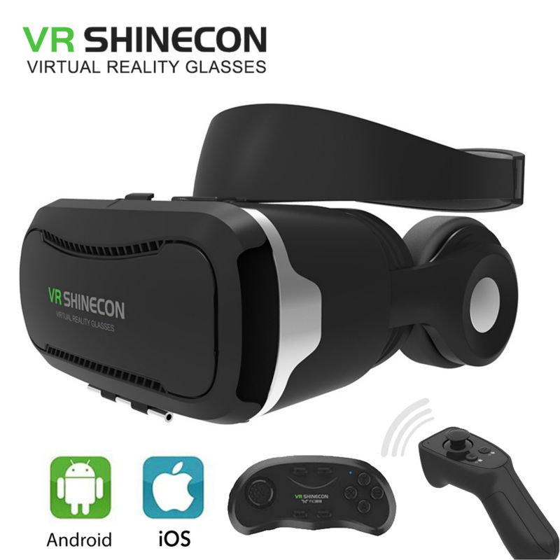 VR SHINECON 4.0 Virtual Reality-glasögon 3D-glasögon VR BOX 2.0 google-kartong med headset För 4,5-6,0 tums smartphone