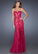 free shipping new design party vestido de festa longo robe soiree 2014 sexy sweetheart red lace long evening dress