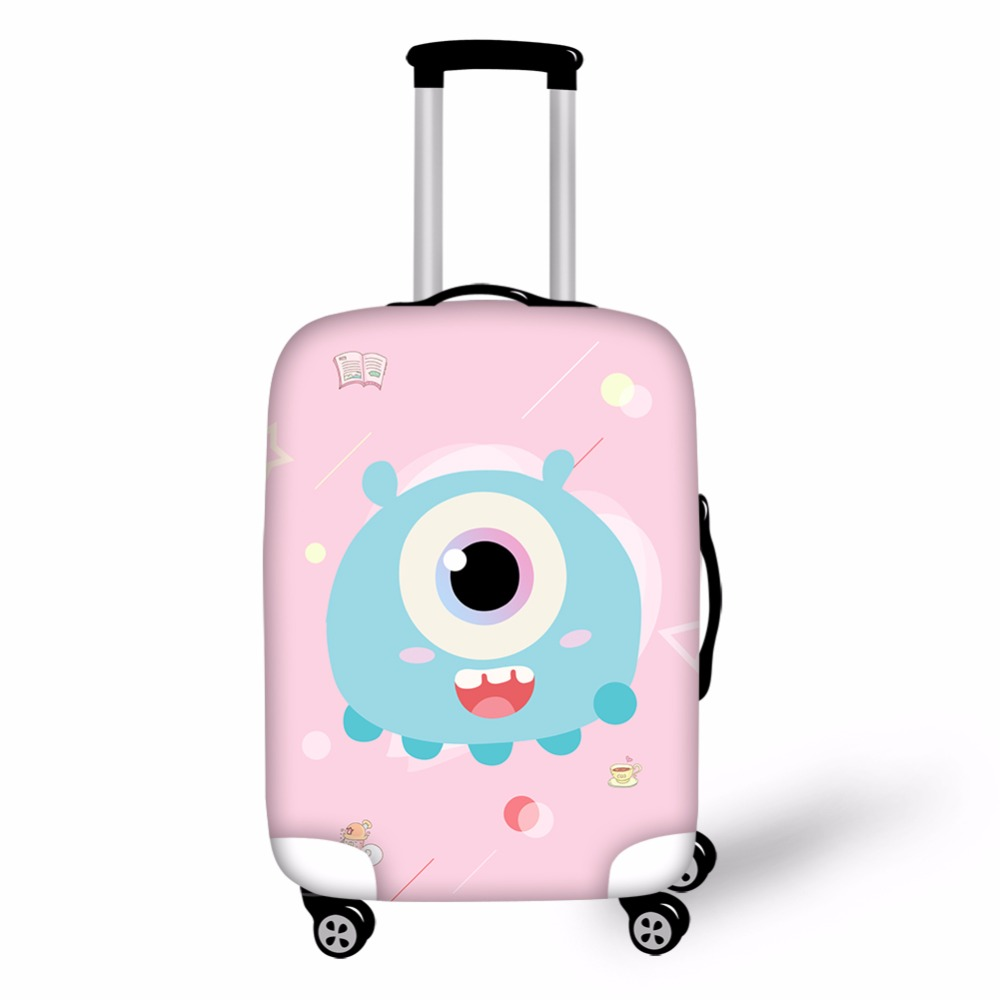 Women Thick Elastic Luggage Protective Covers Cartoon Animal Monster Cover For 18-30 Inch Travel Case Suitcase Waterproof Cover