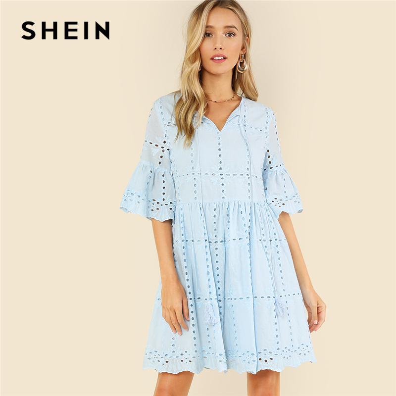 SHEIN Sky Blue Casual Tassel Tie Neck V Neck Half Flounce Sleeve High Waist Eyelet Embroidered Smock Summer Dress For Women