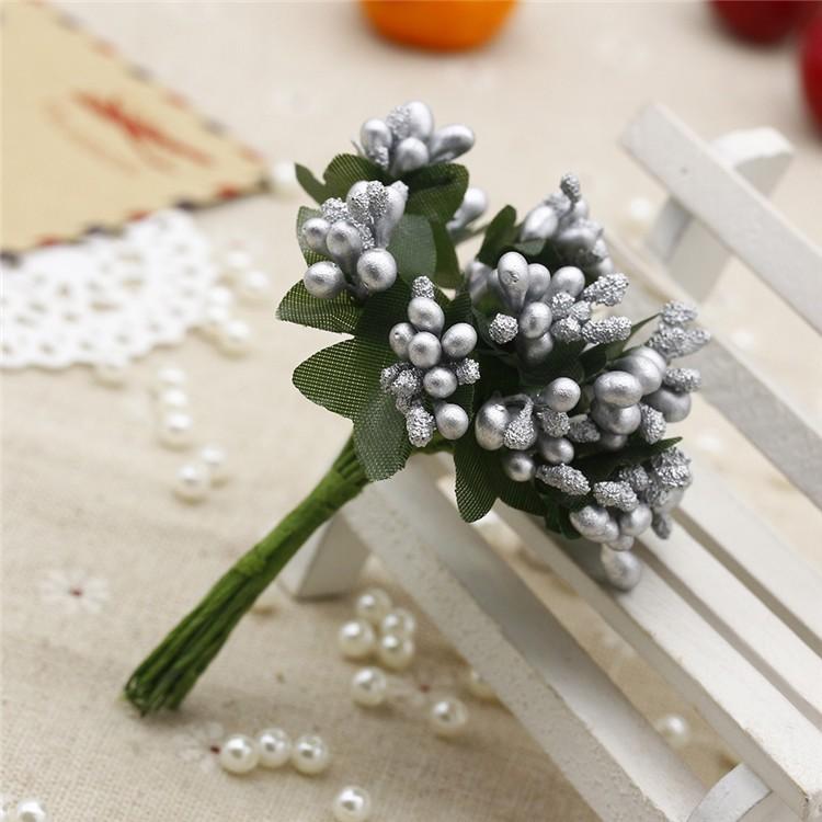 16 12pcs Berry Artificial Stamen Handmade Flower For Wedding Home Decoration Pistil DIY Scrapbooking Garland Craft Fake Flower 11