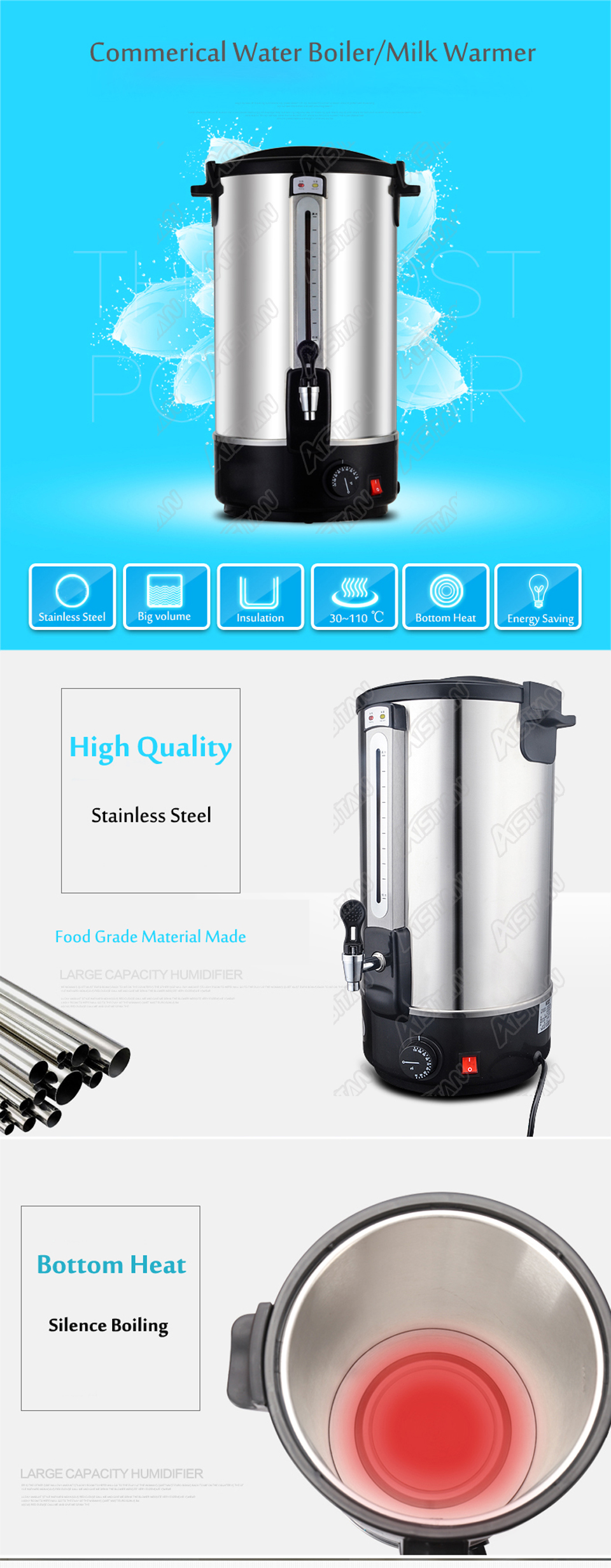 HL15E 12L Litres Stainless Steel Design Kitchen Electric Hot Water ...