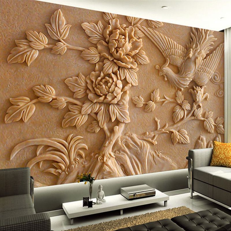 Deep Embossed 3D Flowers Photo Wall Paper Modern Design
