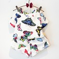 [Bosudhsou.] #K-20 Summer Childern Leisure Clothing Set Baby Girls Colorful Butterfly Suit Kids Short Sleeves Clothes Suit
