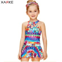 купить XARKE One Piece Swimsuit for Girls Skirted Bathing Suit Baby Girl Swimwear Print Halter Kids Bathers Children Swimming Suits дешево