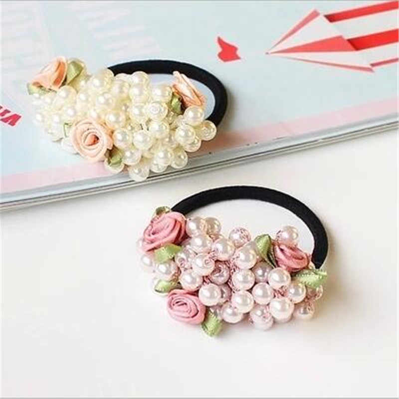 Fashion Women scrunchies flower beaded pearl headband rubber elastic hair bands girls Ponytail Holder hair accessories