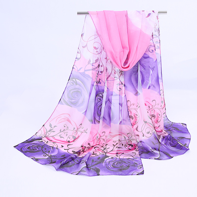 1PC Hot Fashion thin Shawl turban Scarf Chiffon Rose print Hijab Neck Warmer Silk Scarf Women Girls Cape 50*160 Long Headband