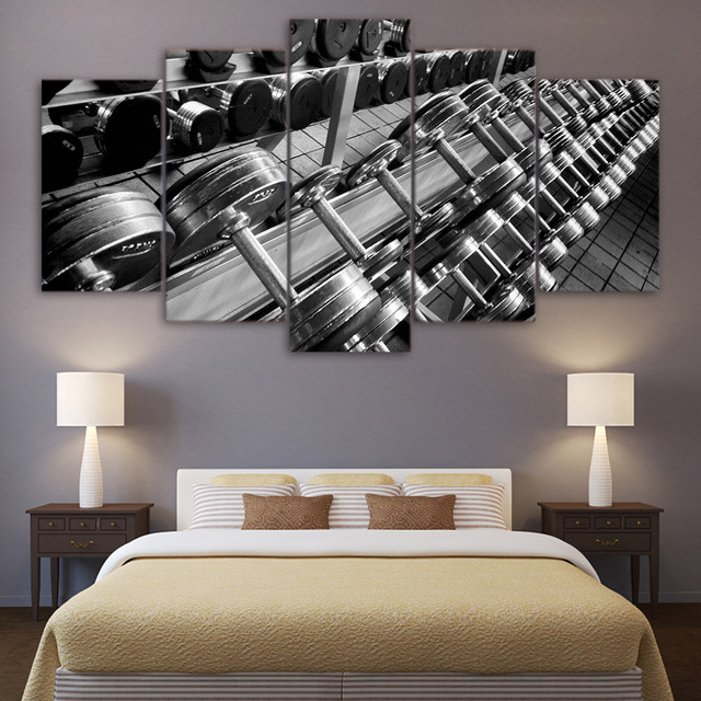 Fashion rushed piece canvas art dumbbells fitness gym