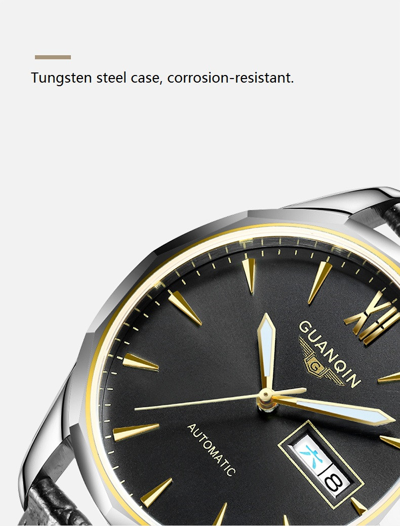 GUANQIN Luminous Men Watch Automatic Mechanical Tungsten Steel Watches Date Calendar Japanese Movement Watch with Leather Strap (8)