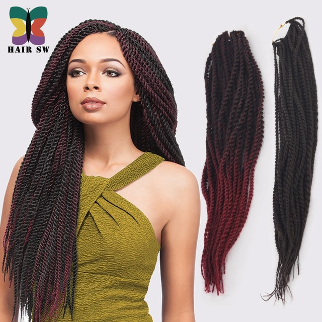 Ombre Senegalese Twist Synthetic Hair Afro Crochet Braid Styles Pre