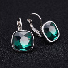 2016 Fashion Women Earrings For Wedding Silver Plated Brincos Big Blue Austrian Crystal Stud Clip On Earrings Statement Jewlery