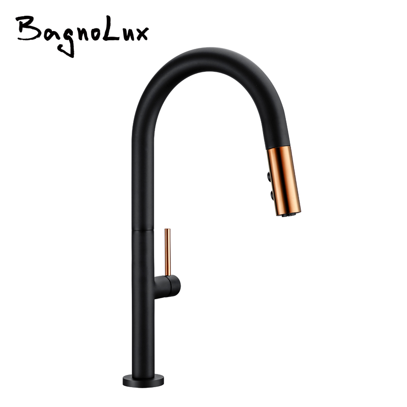 Swivel Pull Down Kitchen Faucet Black / Rose Rinse Laundry Sink Mixer Tap Spring Wholesale Premium Solid Brass Luxurious FK12013