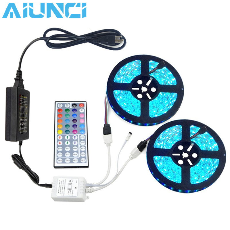 10M 5050 RGB LED strip light waterproof led light 10m flexible rgb diode led tape set+Remote Control+Power Adapter