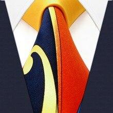 Удлиненные оранжевые желтые синие галстуки для мужчин шелковый галстук с принтом