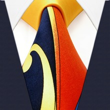 Pattern Orange Yellow Blue Navy Mens Ties Necktie 100% Silk Printing Handmade  Brand New