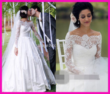 Romantic White Off the Shoulder Long Sleeve Bridal Dresses 2015 A Line Lace Wedding Gowns W3304