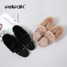Moccasins Women Shoes Fur Loafers Flats Ladies Slip-on Shoes Square Toe Ballet Flats Female Shoes Winter Flats Shoes