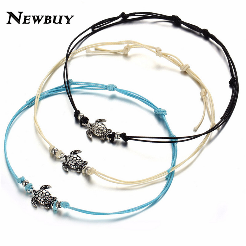 NEWBUY Women Summer Beach turtle anklet Jewelry Charm Rope String Anklets chaine de cheville pour femme Female Ankle Bracelets
