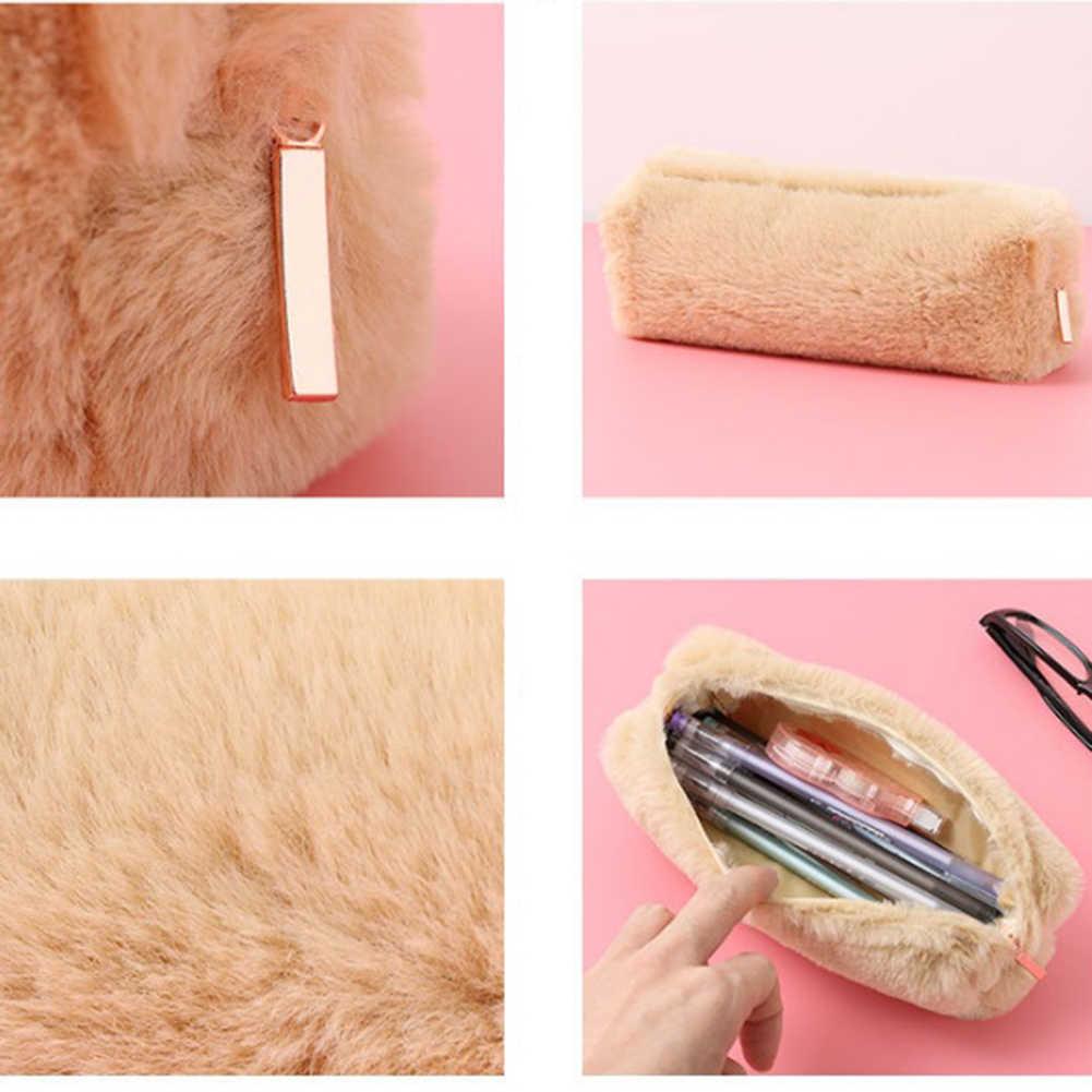 2019 di Colore Solido Peluche Sacchetto di Trucco Delle Ragazze Sacchetto Cosmetico Kawaii Scuola neceser Rosa Make Up Borse Ragazze Organizzatore di Viaggi di Bellezza caso