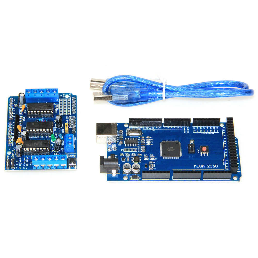 Motor-driven expansion board L293D motor control shield for arduino with Mega 2560 R3 Mega2560 REV3 and usb cable mega 2560 r3 rev3 atmega2560 16au совет кабель usb совместимый для arduino
