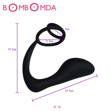 Men Climax Fantasy Silicone Male Prostate Massager with Two Cock Rings Anal Sex Toy Butt Plug for Men Adult Erotic Anal Sextoys