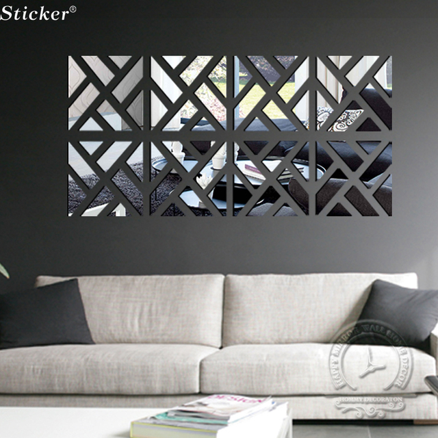 3d mirror wall stickers home decor diy acrylic mirror surface sticker tv wall decor modern design - Mirror Wall Designs