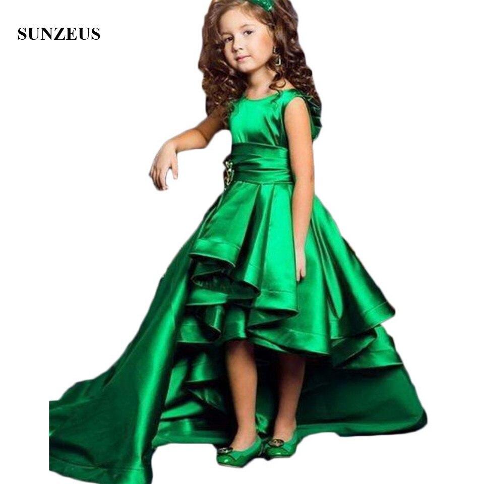Emerald Green Girls Pageant Dresses High Low Flower Girls Dresses For Weddings Lovely Kids 2018 Satin Communion Gown S1521