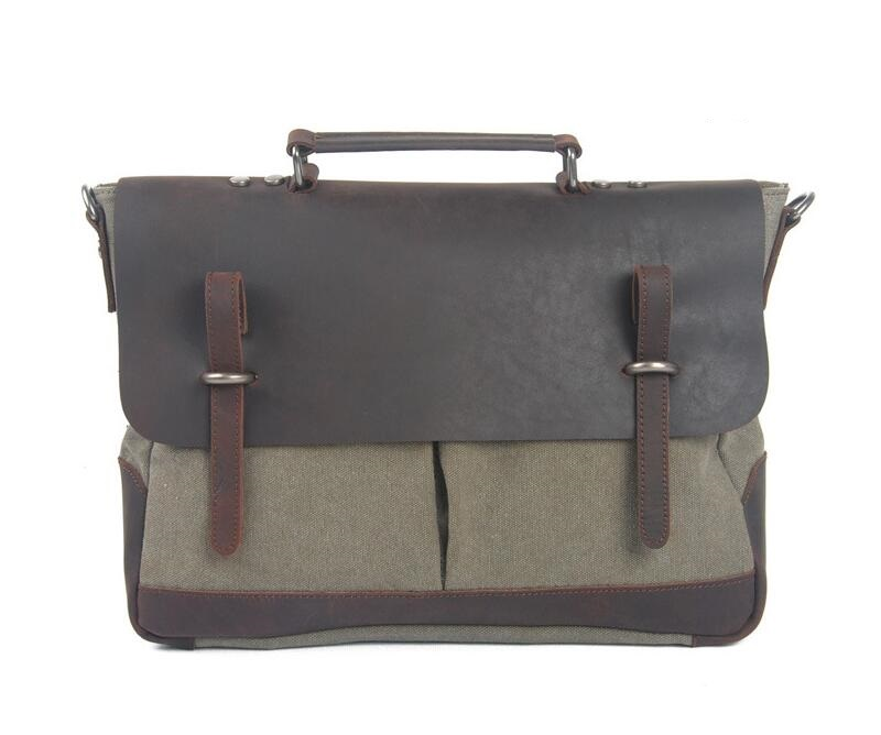 High Quality Crazy Horse Mens Vintage Genuine Leather Messenger Shoulder Bag Briefcase 15.6 Laptop Case bgs  JIE -007
