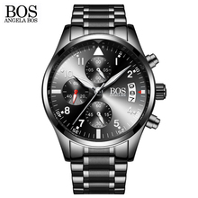 ANGELA BOS Chronograph Timing Army Military Watch Mens Cool Black Luminous Calendar Date Stainless Steel Men Watch Luxury Brand