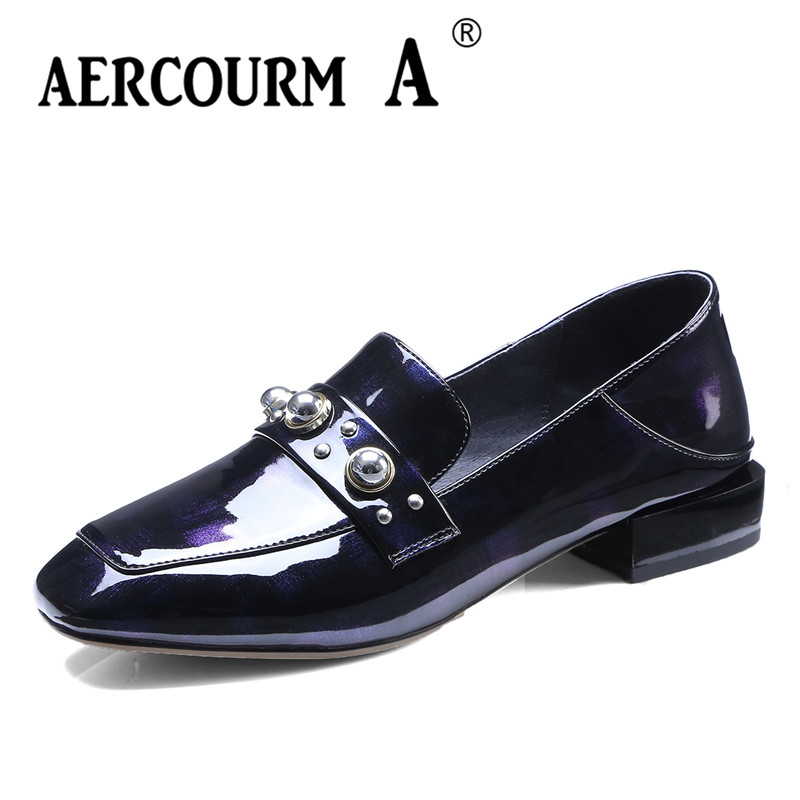 цена на Aercourm A 2018 Spring Autumn Women Pumps Square Toe Fashion Patent Leather Shoes Square Heel Black Brown Low Heels Shoes DTN15