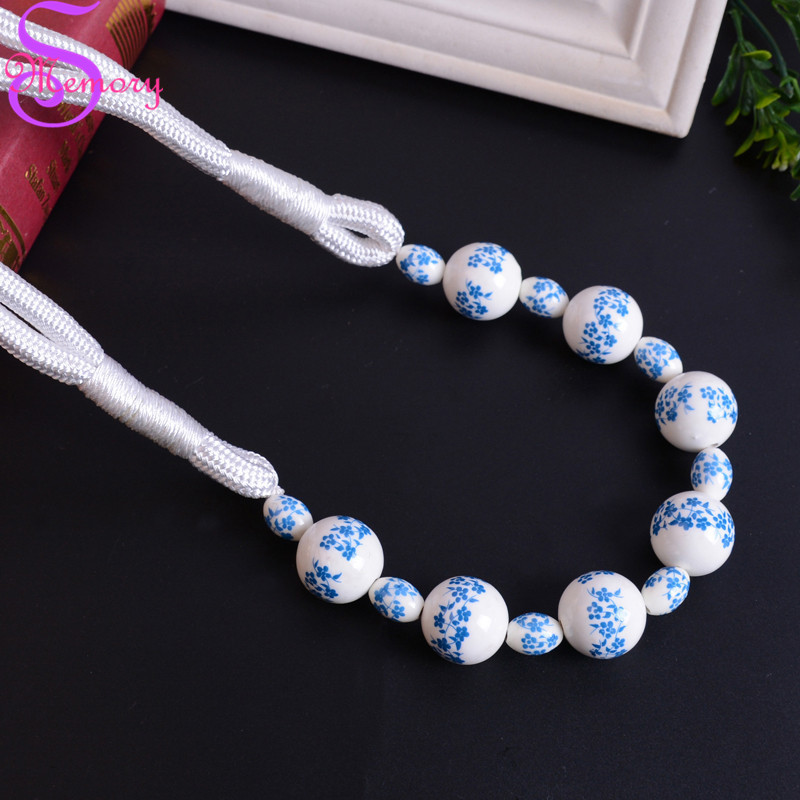 Flower Ceramic Beaded Curtain <font><b>Holders</b></font> Tieback Clips Hanging Ball Buckle Tie Back Straps Accessories Home Decor