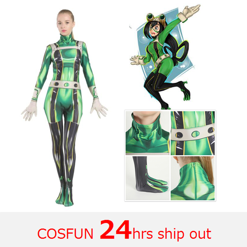 My Hero Academia Cosplay Costume Boku no my Hero Academia Asui Tsuyu Bodysuit Jumpsuit Boku no Women Halloween Costumes for Kids