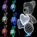 Free shipping Kid Christmas Gift USB Little Lovely Heart Bear 3D Atmosphere Lamp Girls Baby Bedroom LED Touch  Night Light