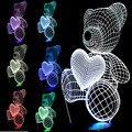 O envio gratuito de Presente de Natal Criança Atmosfera Lâmpada USB Pequeno Coração Bonito Urso 3D Meninas Quarto Bebê LEVOU Leve Toque Noite
