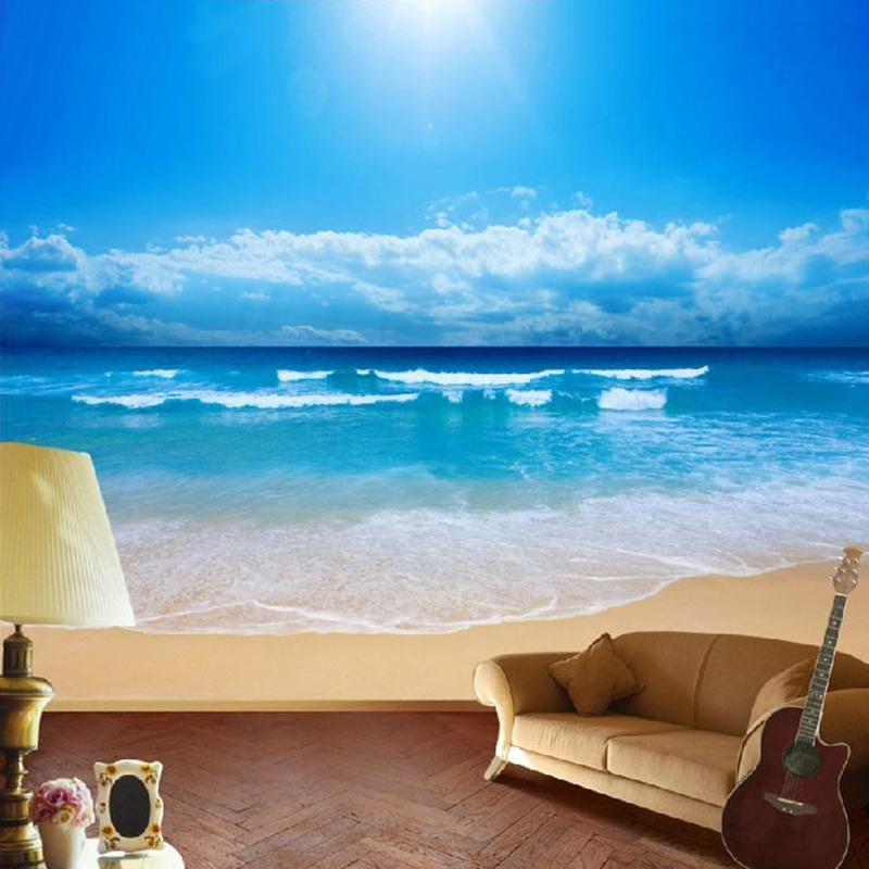 Custom Wall Mural Wallpaper For Walls 3 D Blue Sky Ocean Beach Non Woven  Printed