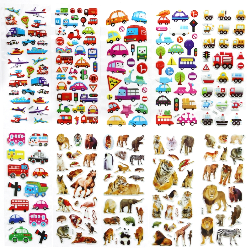 10 Sheets Cute cartoon car animal DIY Stickers diary PVC puffy reward kids lot kawaii educational bubble stickers for notebook цена