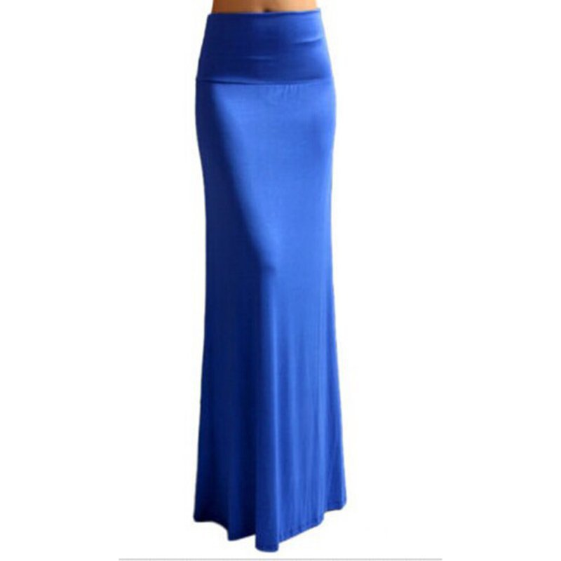 WEIXINBUY 2018 Summer Women Sexy Solid High Elastic Waist Foldover Long Jersey Maxi Pencil Skirt