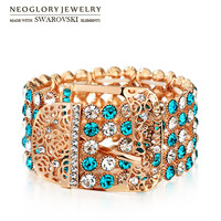 Neoglory MADE WITH SWAROVSKI ELEMENTS Rhinestone Bangle Rose Gold Plated Elegant Jewelry For Luxuriant Trendy 2015