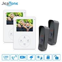 Jeatone Hands Free Video Door Phone Intercom Camera Doorbell Door Viewer Camera 2 Outdoor Station Video