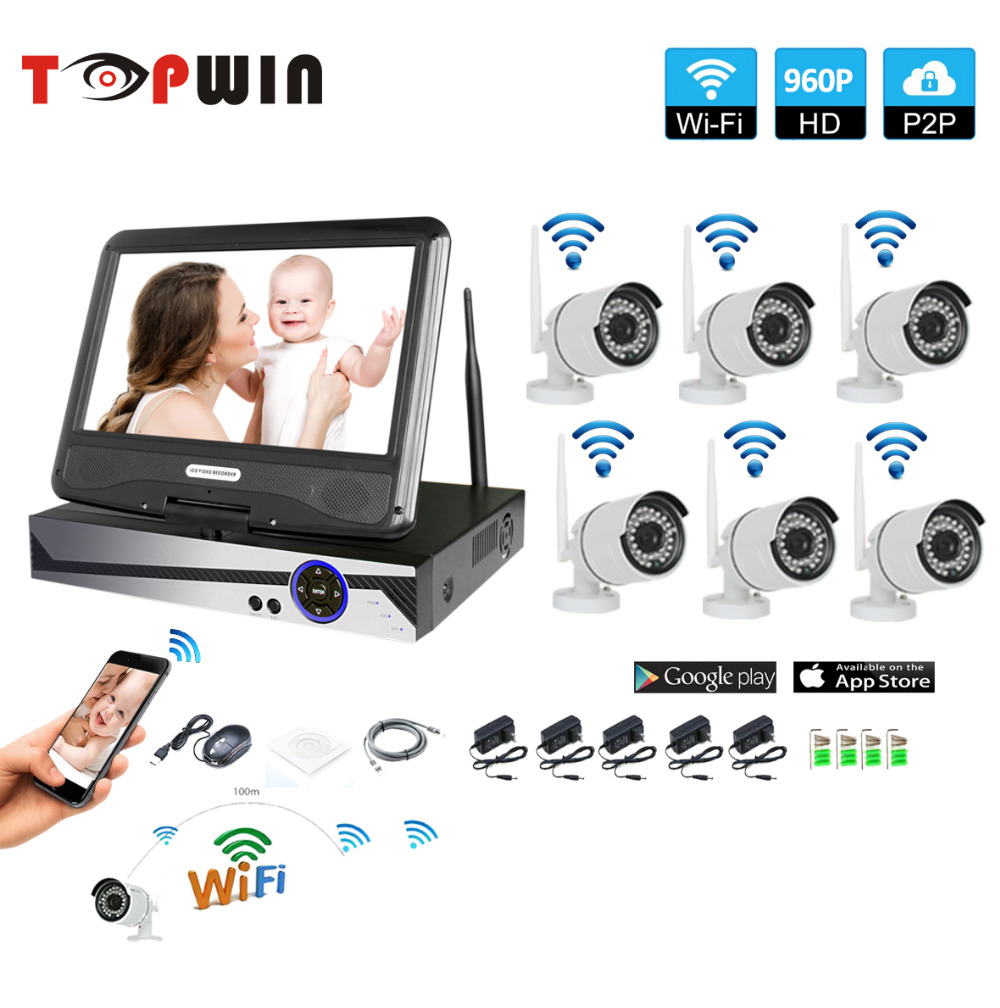 Wireless Surveillance System Network 10.1 LCD Monitor NVR Recorder Wifi Kit 6CH 960P HD Video Inputs 6PS 1.3MP Security Camera