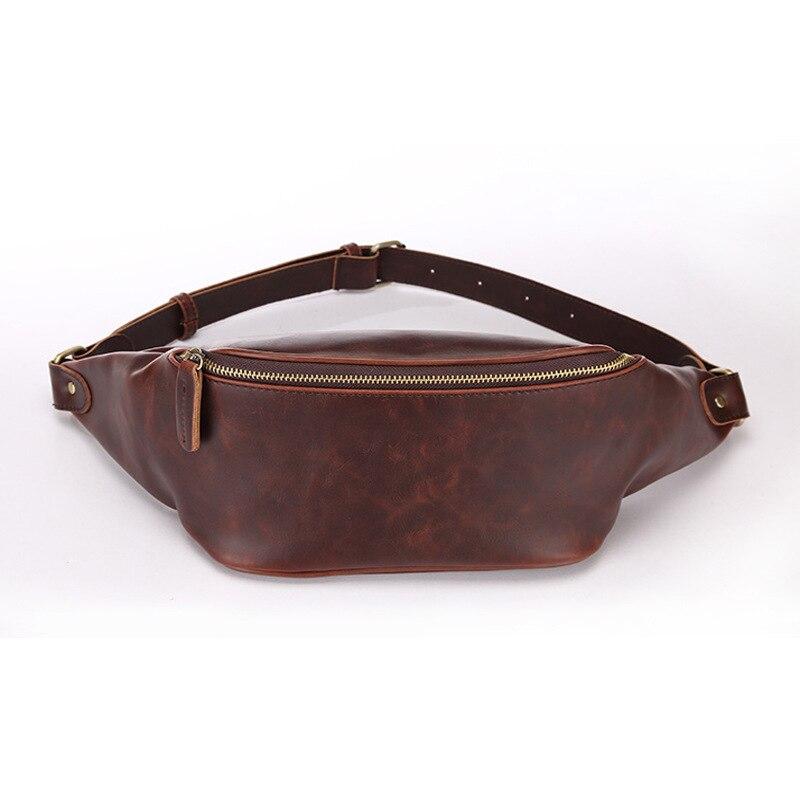 Luxury Fashion Crazy Horse Pu Faux Leather Waist Bag For Men Fanny Pack Designer Belt S Bum Chest  Money Cellphone Holder
