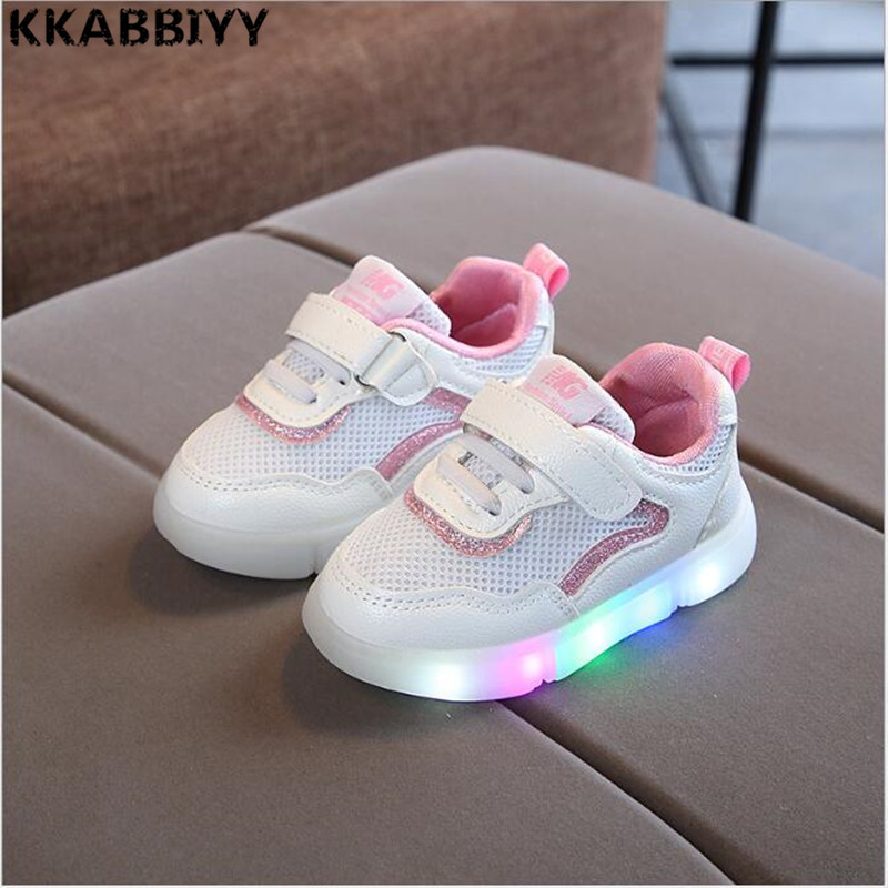 Kids LED Sneakers Mesh New Autumn Net Breathable Baby Glowing Sneaker Children Sports Shoes For Boys Girls Shoes With Lights