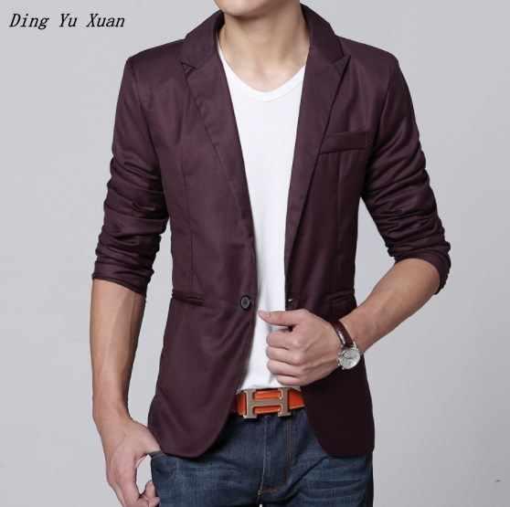 Chaqueta Casual de estilo coreano para hombre, Chaqueta de traje de otoño, ajustada, para hombre, rosa, negro, Azul, Gris, Borgoña Formal chaqueta Hombre