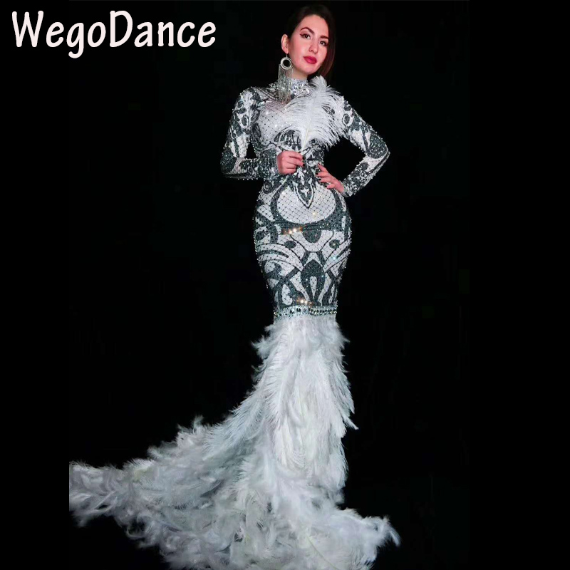 Hot koop sexy Zwart Witte Steentjes Bloemen Lange Trein Veer Jurken Glinsteren Kostuum Vrouwen Prom avondjurk