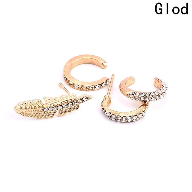 4 Pcs/Set Gold COLOR Ear Stud Crystal Rhinestones Leaf Earrings Ear ...