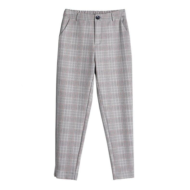 Women   Pants   &   Capris   Slim summer Plaid High waist thin Harem   pants   Skinny Ankle-Length   Pants   Woman 8277