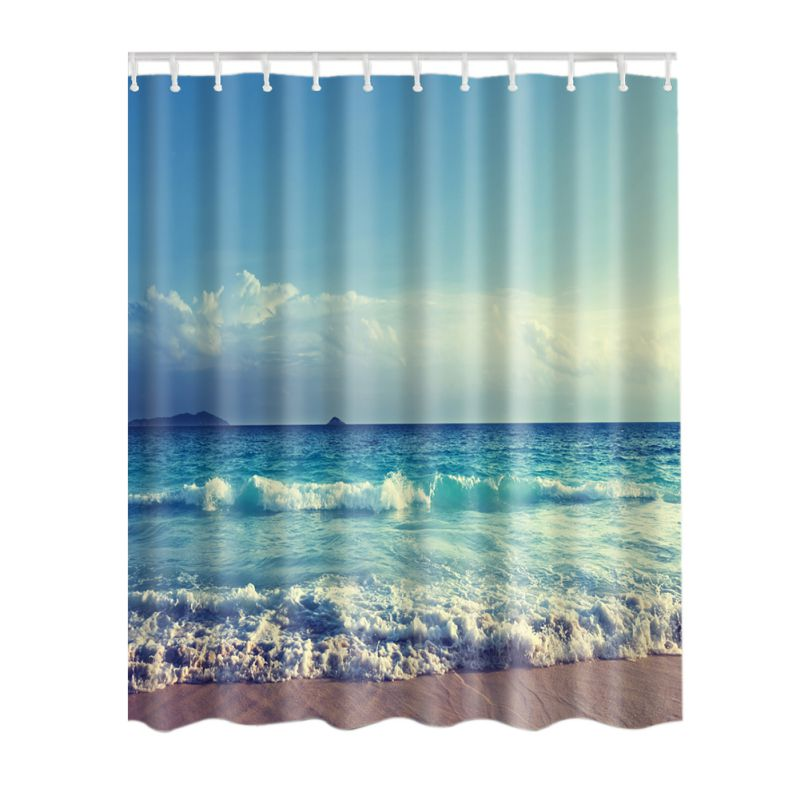 SPA Waterproof Shower Curtain Bathroom Decor Blue Ocean Seaside Scenery/  Sunset / Waves / Lakeview In Shower Curtains From Home U0026 Garden On  Aliexpress.com ...