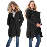 Fashion Maternity Clothing Winter Jackets Kangaroo Carrier Jacket Thin Mother Fur Coat Patchwork Woman Outwear Pregnant Clothes