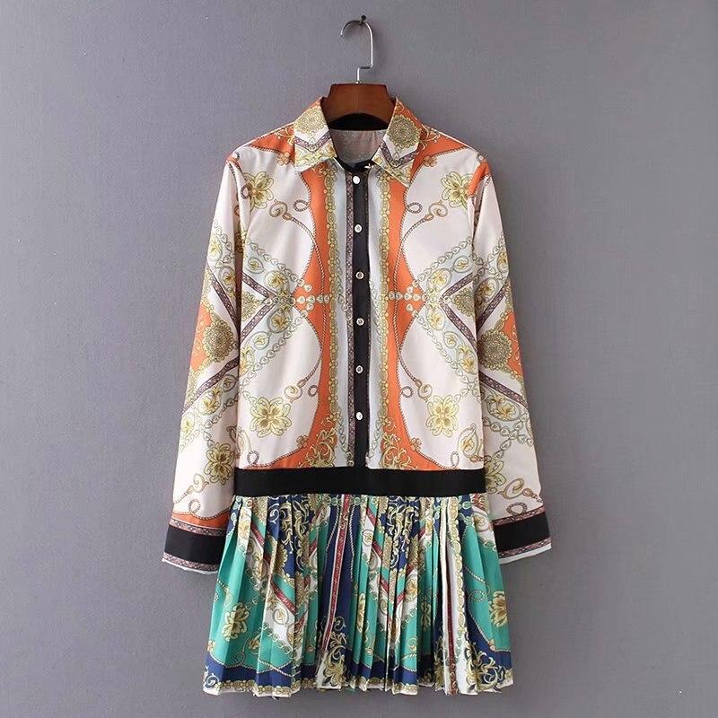 Женское модное платье с цепями и принтом, элегантное плиссированное платье с длинным рукавом, женские весенне летние новые винтажные Мини п