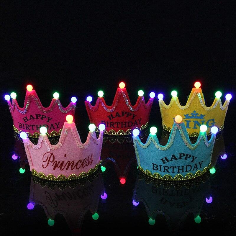 Fête d'anniversaire allumer chapeau enfants adultes lueur couronne princesse chapeau anniversaire gâteau souhaite accessoires de décoration